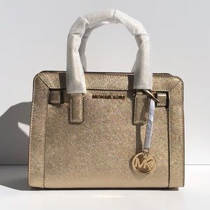 MICHAEL KORS DILLION SMALL SATCHEL IN PALE GOLD